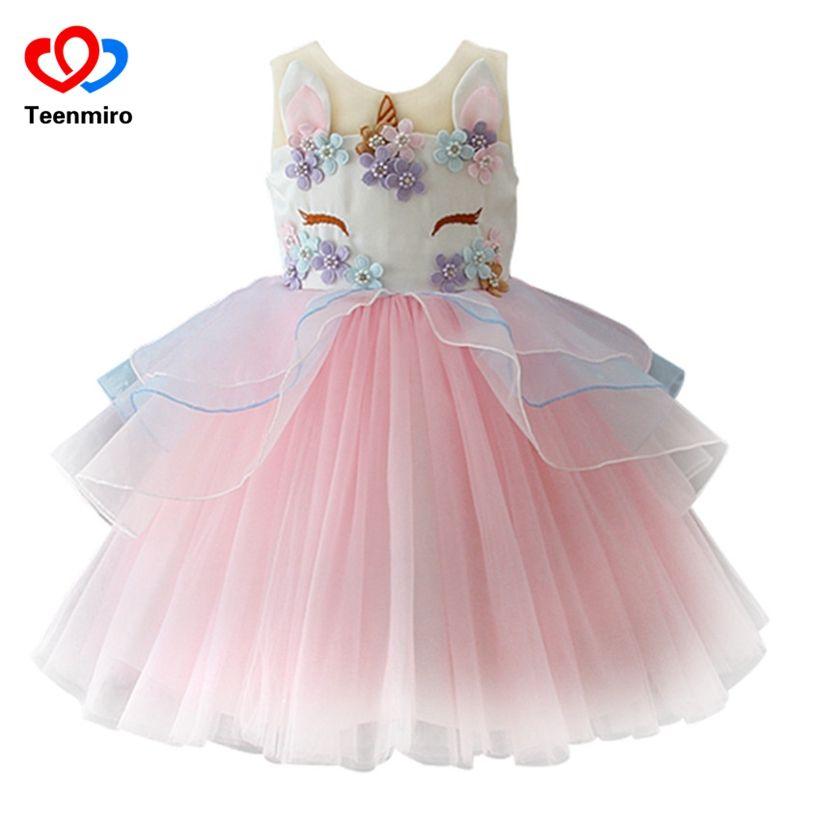 Cheap Fantasía Niños Unicornio Vestido De Tul Para Las Niñas Bordado Bola Del Bebé Vestidos De La P Vestidos De Cumpleaños Vestidos Para Niñas Vestidos De Tutu