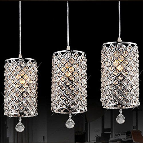 Gracelove Modern Crystal Ceiling Light Pendant Lamp Fixture Lighting Chain Chandelier (Including 2 Bulbs)