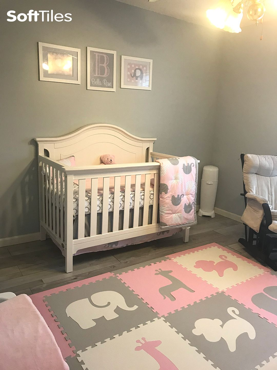 Beautiful Baby S Nursery Using Softtiles Safari Animals Play Mat In Light Pink Gray Make The Perfect Shower Gift