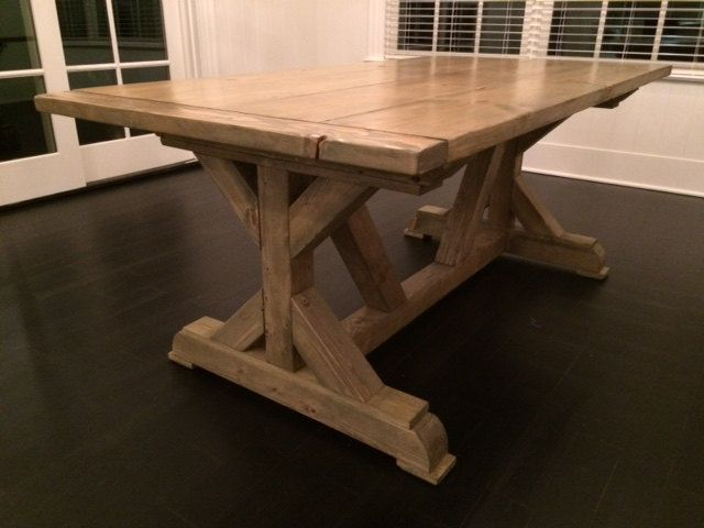 4x4 x frame farmhouse table by surfdustfurniture on etsy for 4x4 dining table