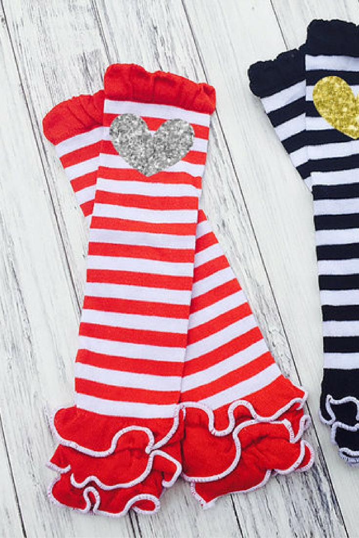 $7.99 | Leg Warmers | Vazzie Teas | Stripe Ruffle Leg Warmers, Glitter Heart, Baby Leg Warmers, Toddler, Baby, Stripe Black White, Stripe Red Ruffle Leg Warmers