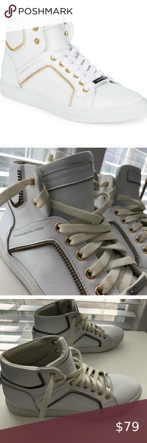 Alessandro DellAcqua White High Top Sneakers with Gold