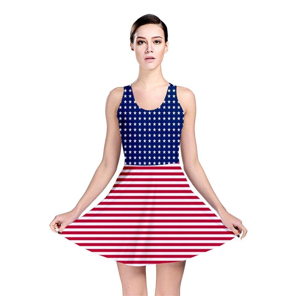 Stars u Stripes II Stars u Stripes II Skater Dress Cute Fourth of