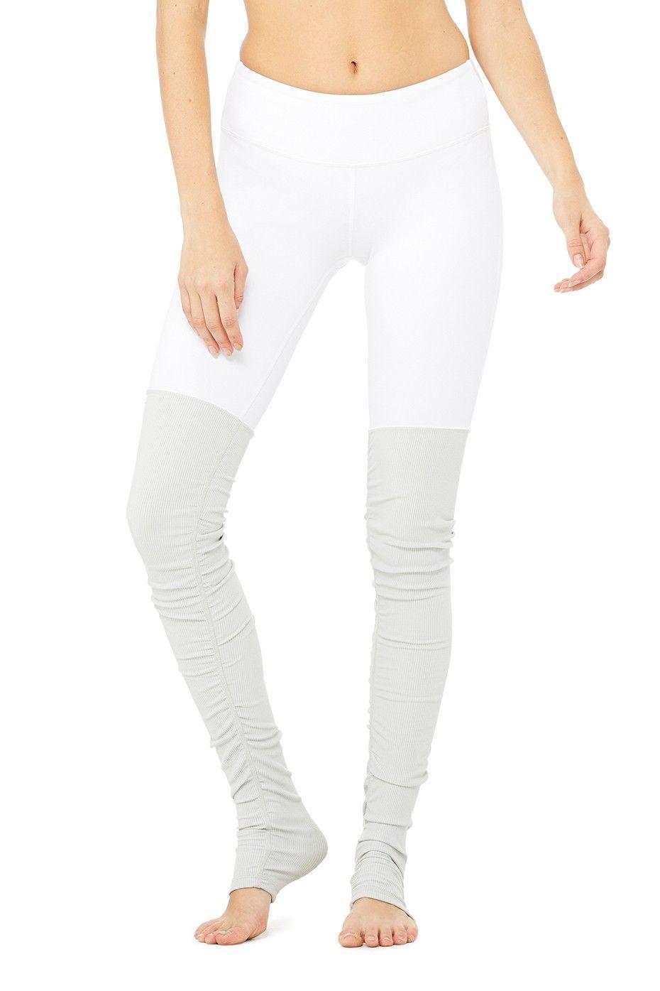 d8ce5dcd11063 Alo Yoga Goddess Ribbed Legging - White / Vapor Grey | Namaste