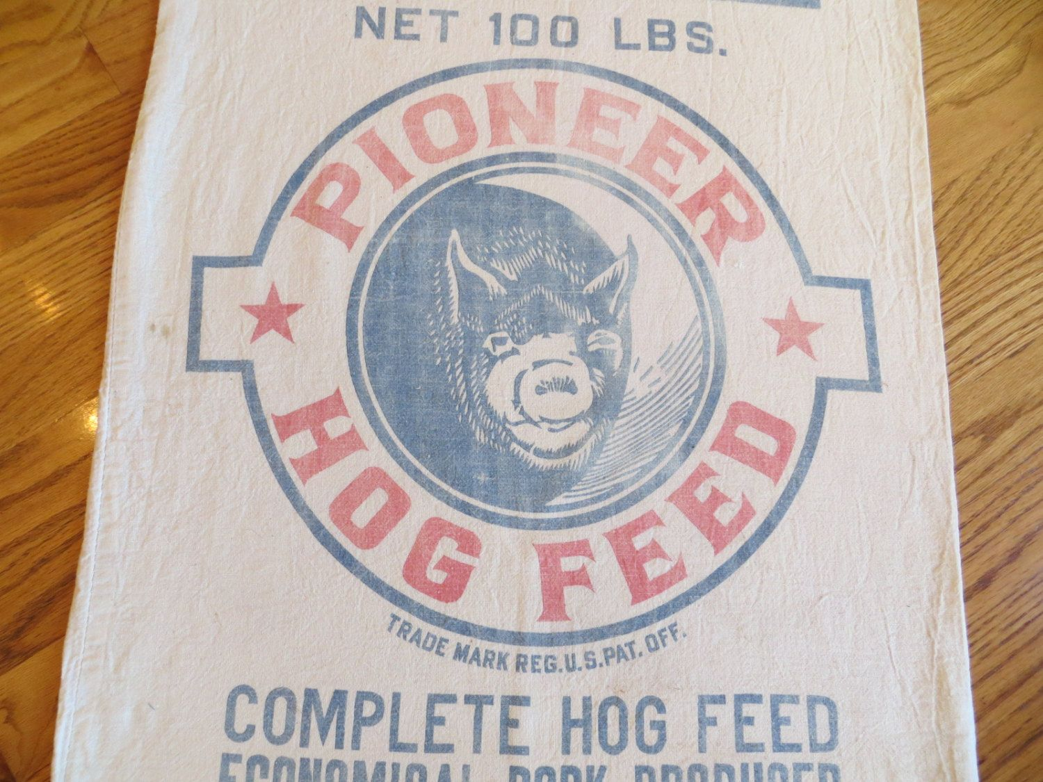 Vintage Feed Sack Bag Pioneer Hog Feed Hales & Hunter Co ...