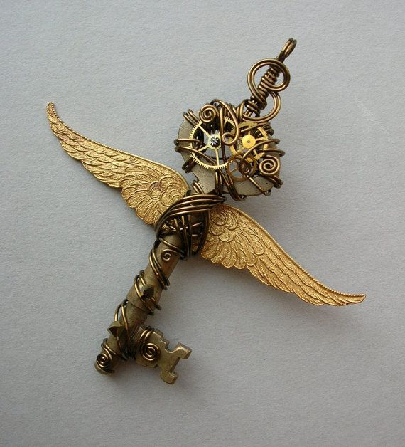 winged clockwork key pendant steampunk pinterest schl ssel und ideen. Black Bedroom Furniture Sets. Home Design Ideas