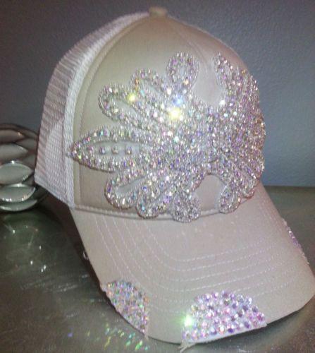 1c2c6b6ada1b1 Custom Envy Beige Iridescent Rhinestone Bling Distressed Trucker Hat Cap  Unique