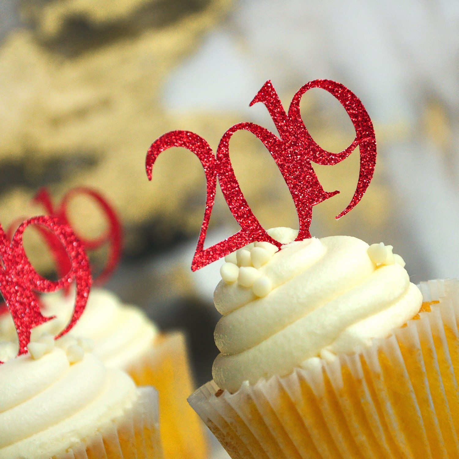 Photo of Glitter Red 2020 Graduation Cupcake Toppers. (1 Pack of 12) Made in 1-3 Business Days. Red Graduation Party Decor.