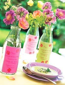 Bottle Party Menus Simple Table Decorations Party Menu Table Decorations