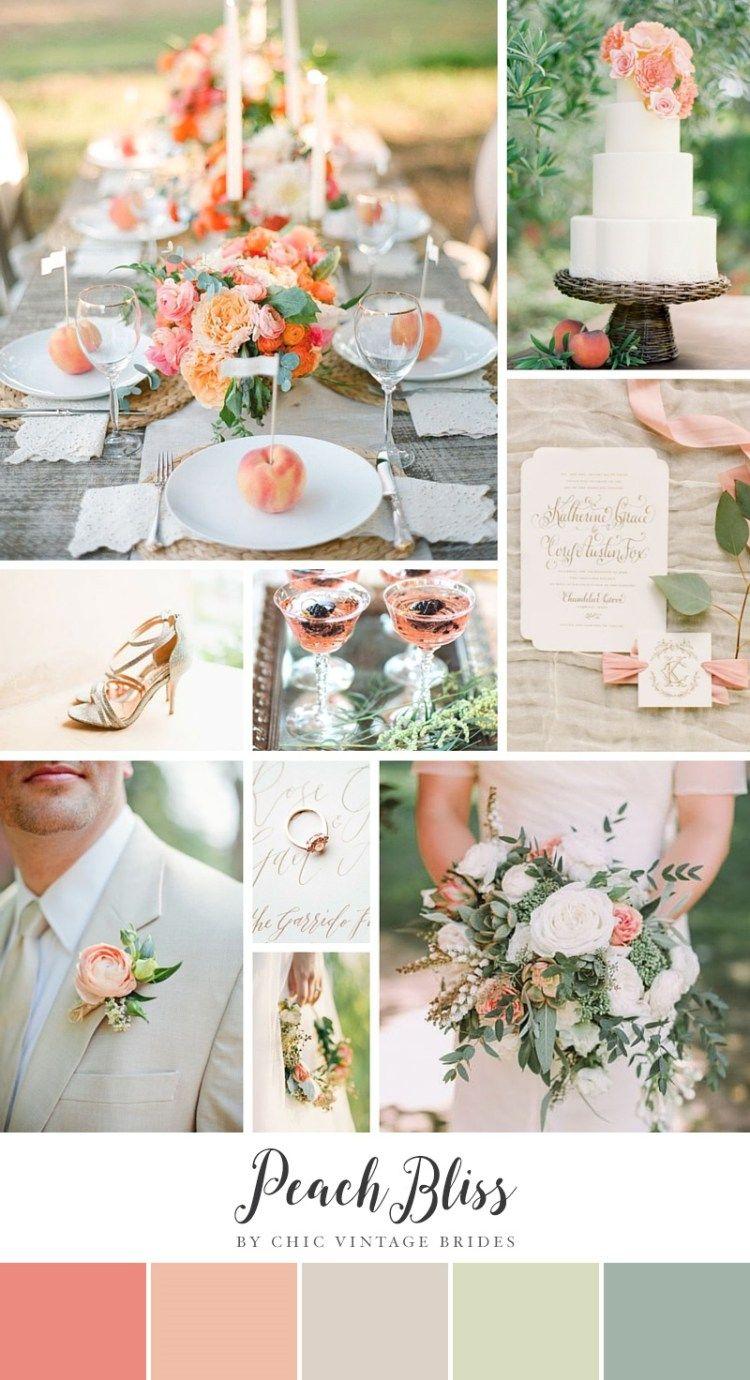 Summer Wedding Color Combination Peach Green