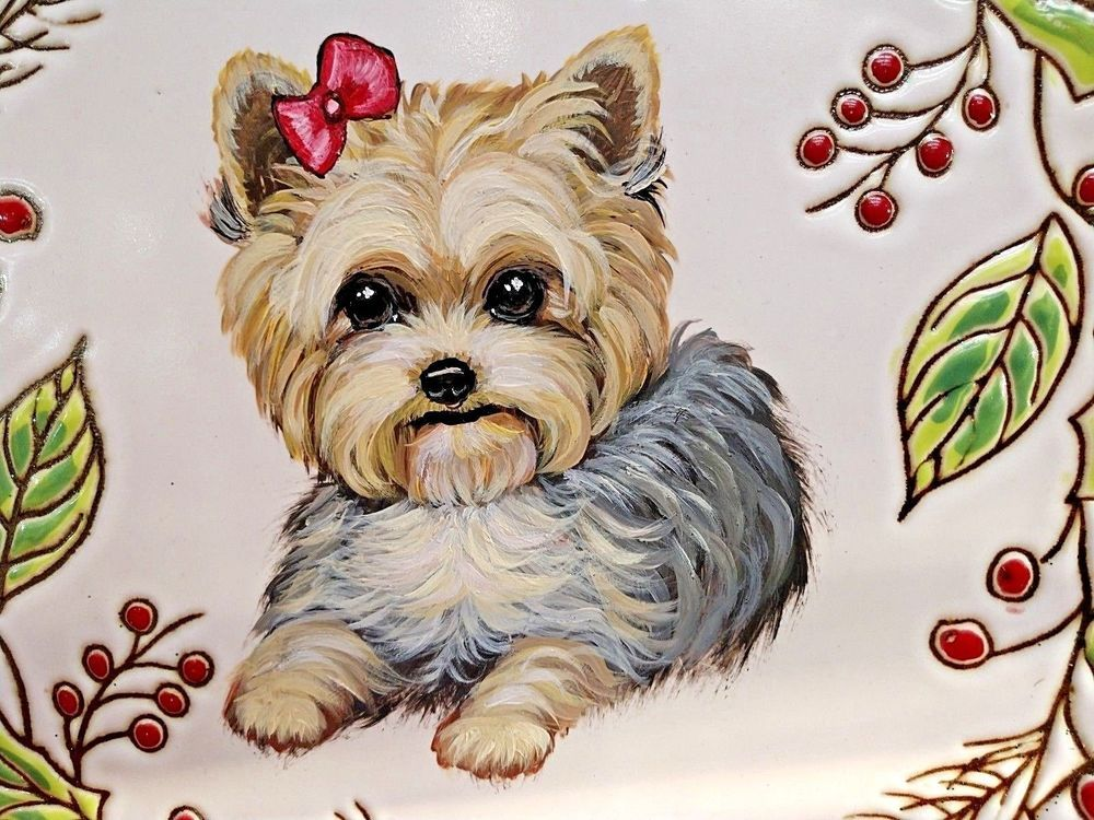 Yorkie Hand Painted Christmas Platter Yorkshire Terrier Puppy