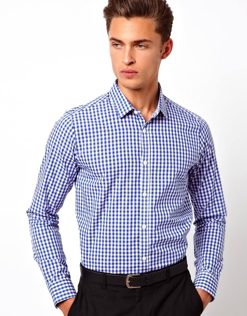 Asos Smart Shirt In Long Sleeve With Gingham Check in White for Men (Blue)
