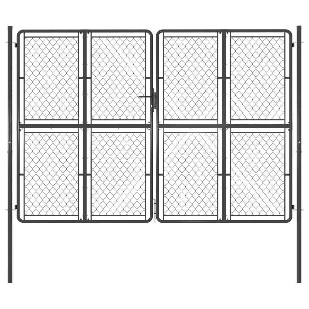 vidaXL anthracite gray steel garden door 300 x 200 cm