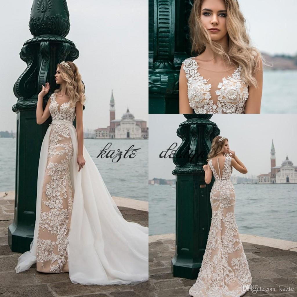 Wedding dress with removable train  Champagne And Ivory Mermaid Beach Wedding Dresses with D Floral
