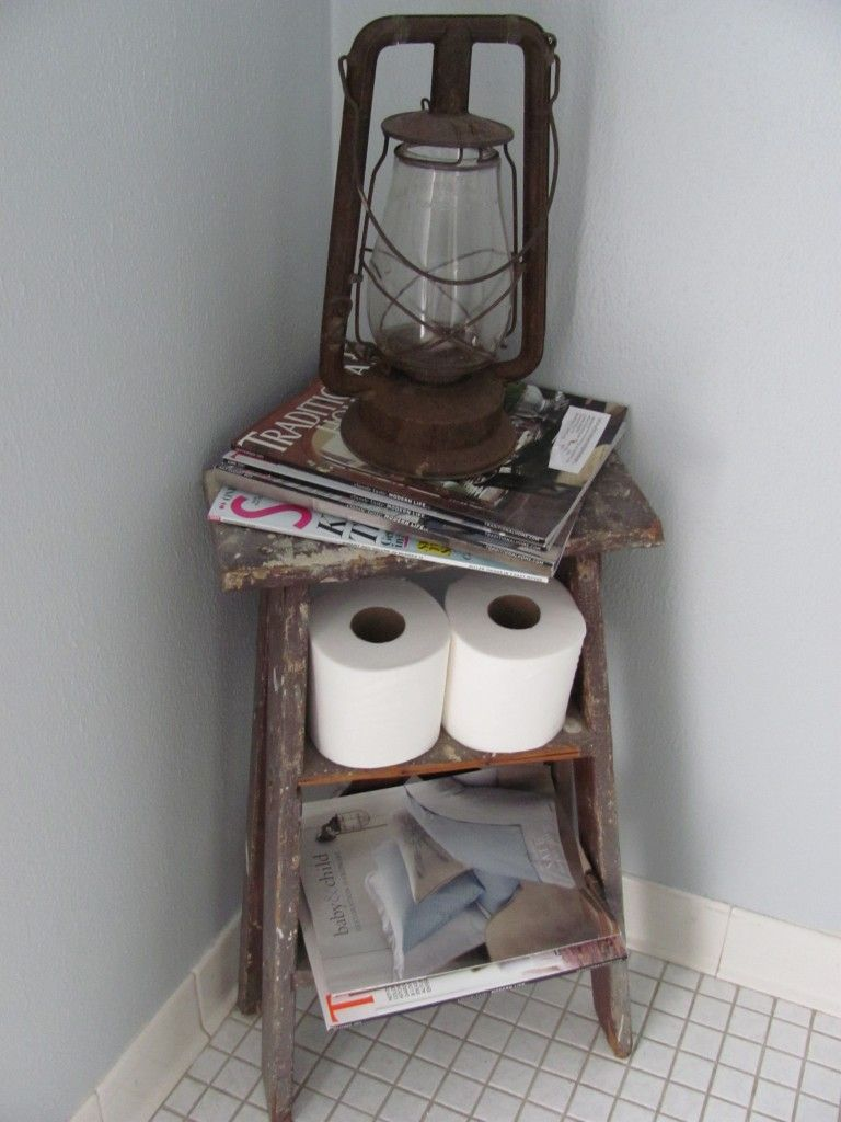 Old ladder turned magazine rack i have a stool that might work my