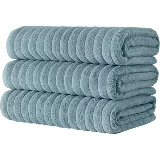 Cotton Ribbed Bath Sheet Towel Set Of 3 40x65 Spa Blue