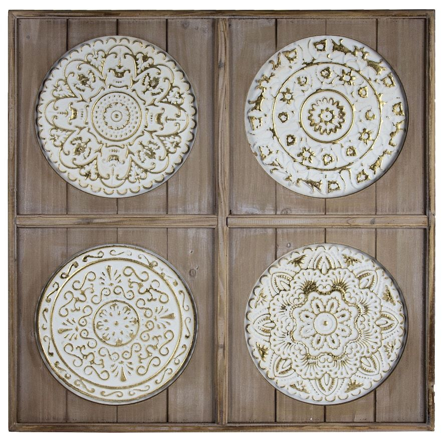 Rustic Wood Metal Medallion Wall Decor Pyrography Medallion