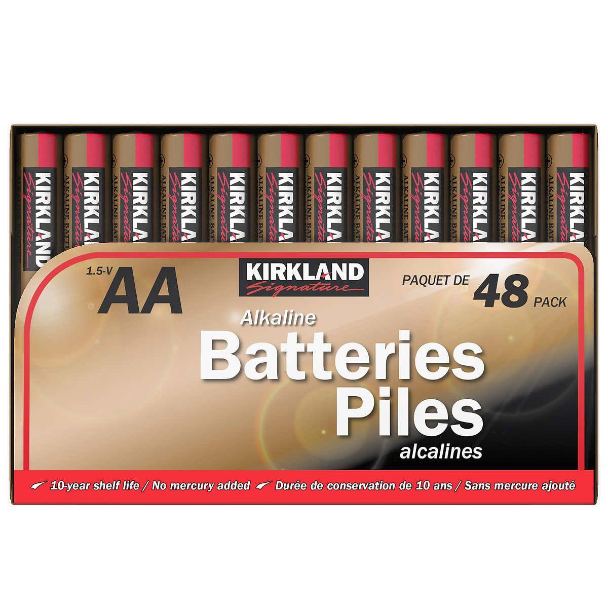 Kirkland Signature Aa Alkaline Batteries 48 Count Alkaline Battery Kirklands Alkaline