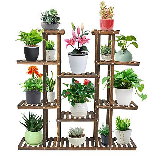 Seeutek 9 Tier Wood Plant Stand Carbonized 17 Potted Flower Pots Organizer Best Offer | BackyardEquip.com