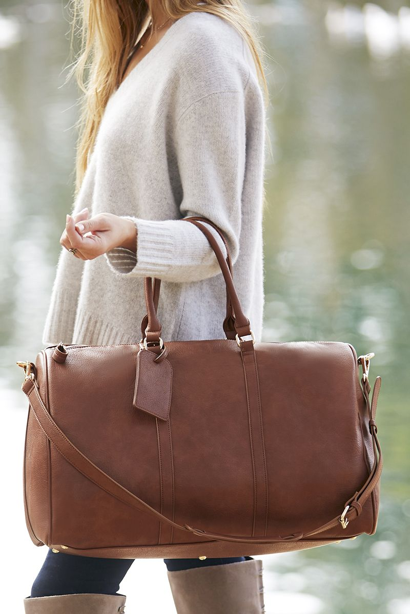 6f064d6773 Brown vegan leather weekender bag perfect for traveling