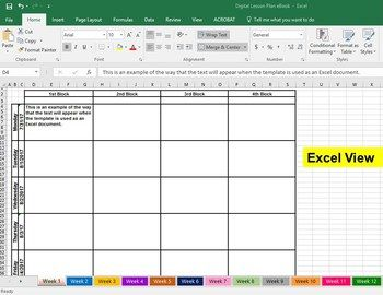 Digital Excel Google Sheets Lesson Plan Book Template Lesson