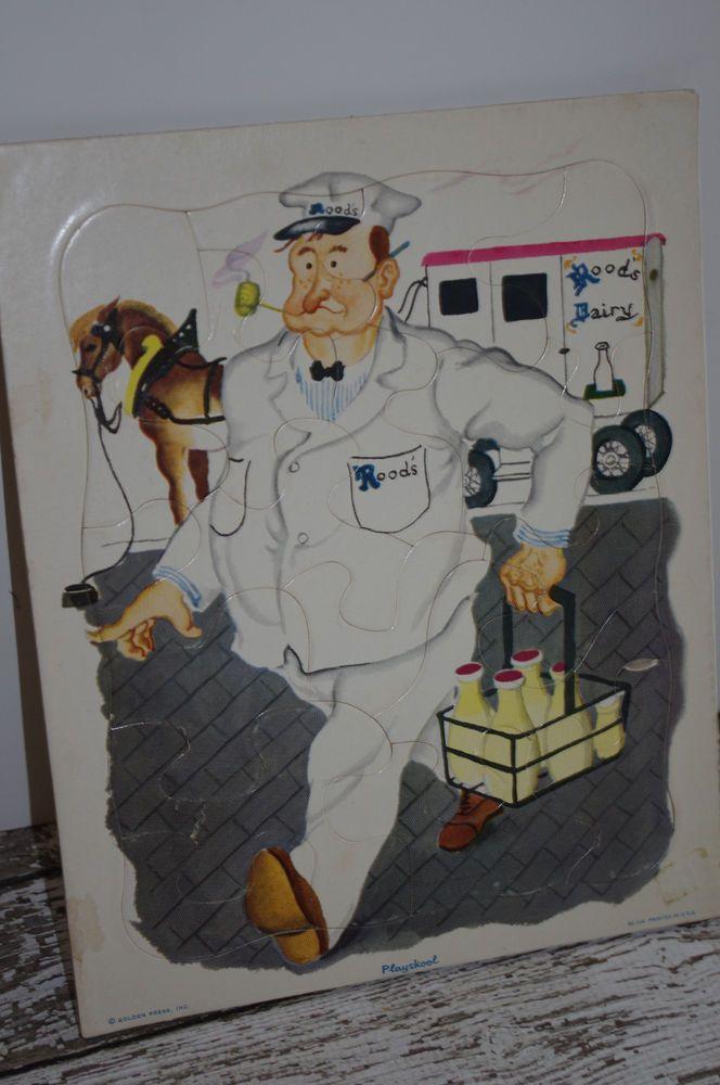 Cardboard Frame Tray Puzzle~ MILKMAN~ Golden Press ~ Playskool 80-10A #Playskool #Playskool