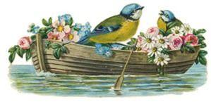 VintageFeedsacks: Free Vintage Clip Art - Sweet Little Blue Birds in Boat