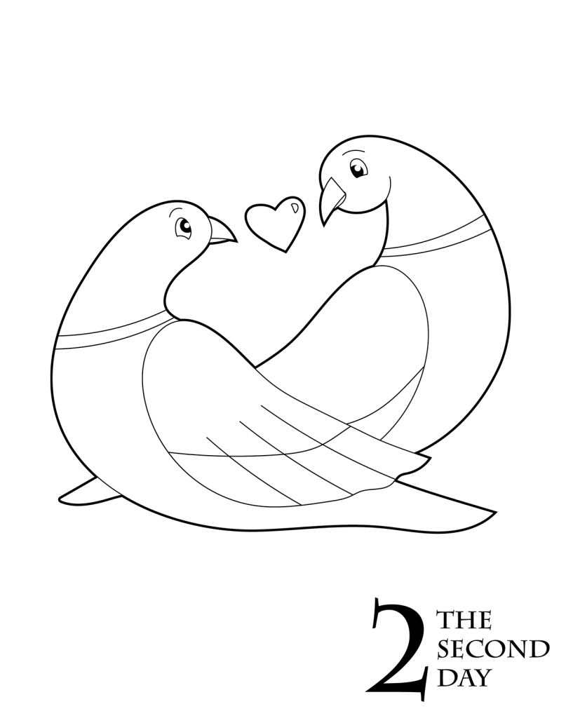 Free Christmas Coloring Printable Two Turtle Doves Christmas Coloring Books Christmas Coloring Pages Coloring Books