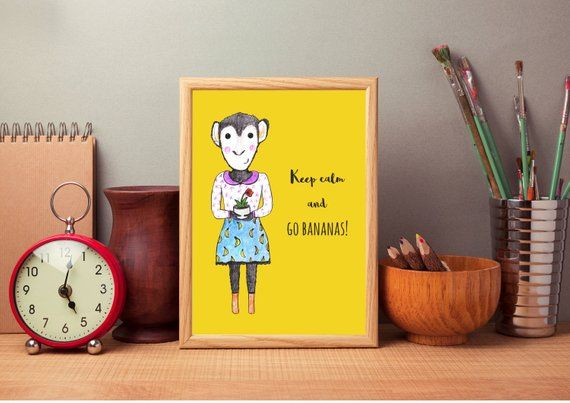 Funny Stress Quotes Funny Stress Quote Wall Art for the Office, Printable Quote, Digital Download, keep calm and go bananas, Monkey Print, Funny Pun Message