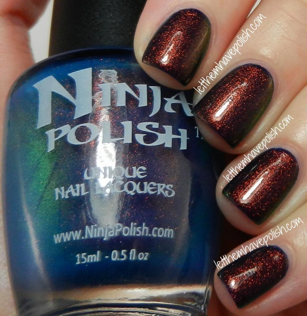 Ninja Polish Mystic Glacier over Cult Nails Time Traveler