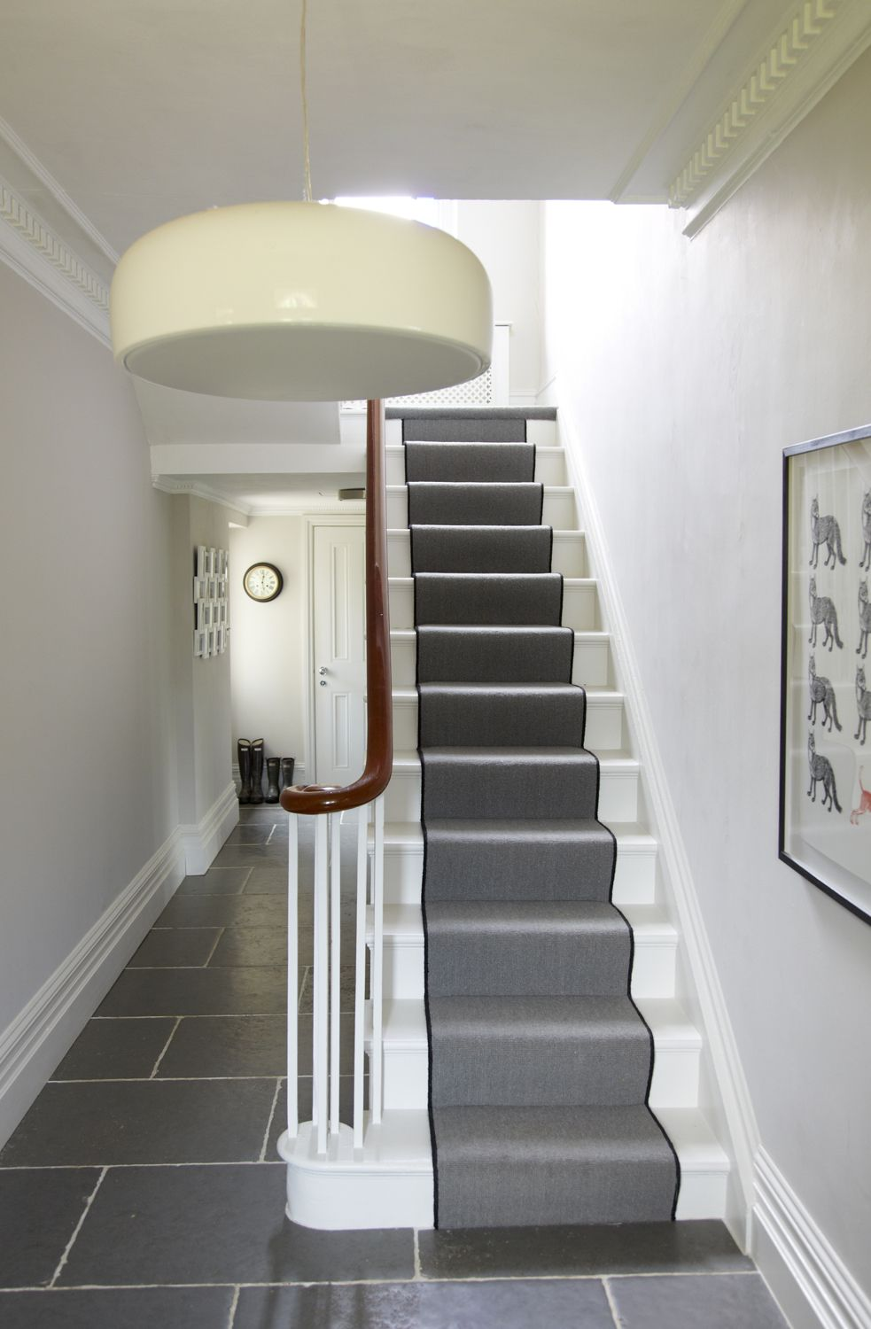 Smithfield S Suspension Dimmable Pendant Lamp In Led Or Halogen   White Stairs With Grey Carpet   Top   Laminate Flooring Carpet   White Staircase   Grey Stripe   Dark Grey