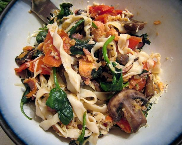 Great Northwest Smoked Salmon Pasta from Food.com:   								A re-creation of a wonderful pasta dish I ate on Whidbey Island in Wash. State, this is fresh with tomatoes, mushrooms, and spinach.