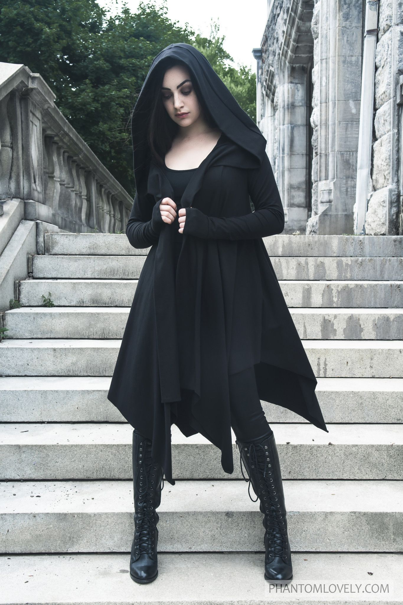 Darkness™ Hooded Cardigan Cloak with Thumbholes | Hooded cardigan ...