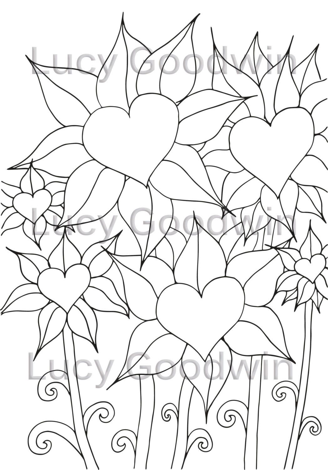 Love Heart Flower Colouring Page by LucyGoodwinDesign on Etsy | Sil ...