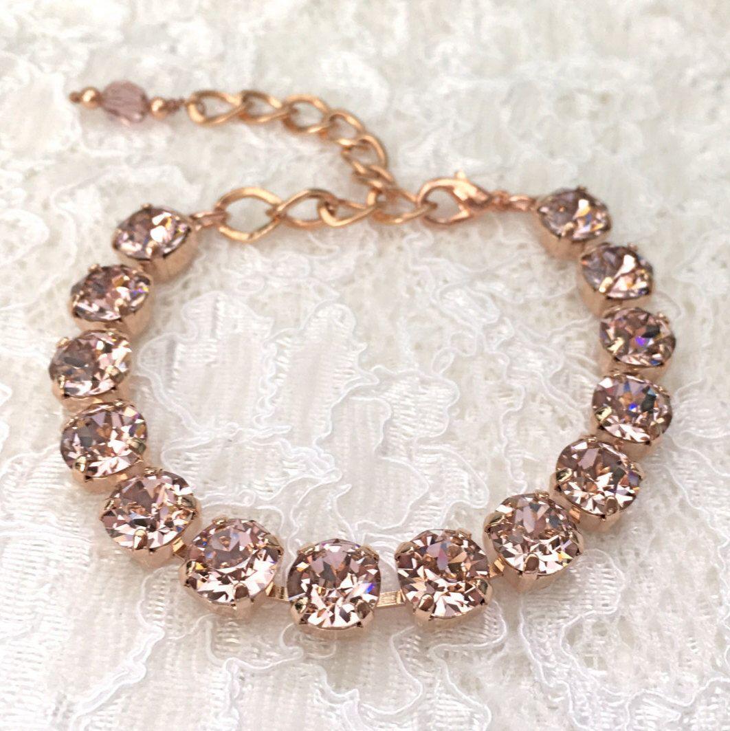 Blush bracelet blush pink rose gold bracelet pink wedding pink