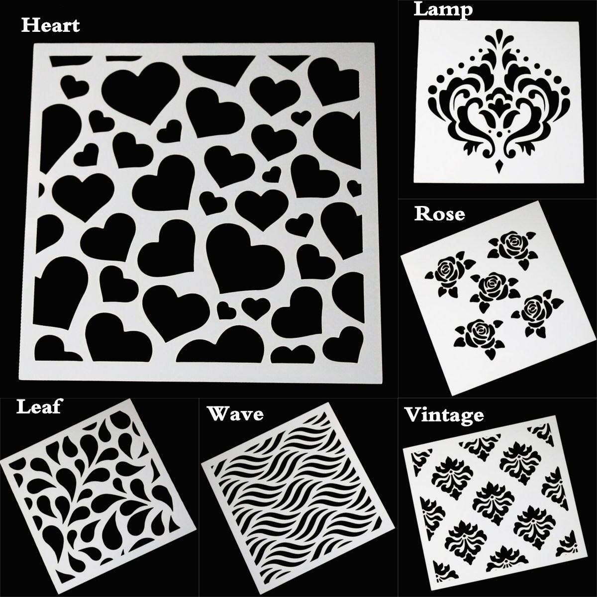 Rose Flower Heart Wave Painting Stencils Plastic Embossing Template ...