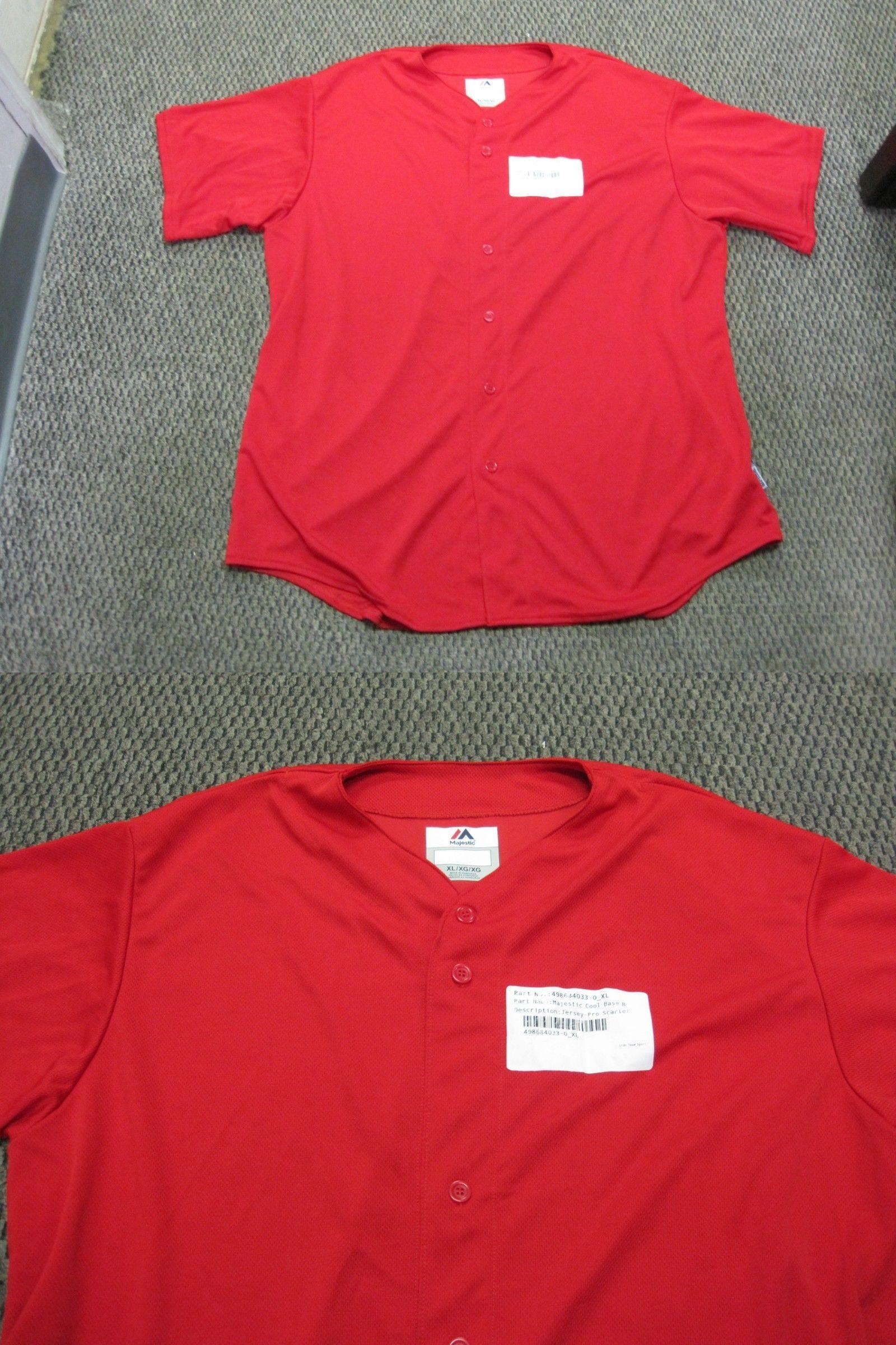 cbc856c1 Baseball Shirts and Jerseys 181348: New Majestic Adult Baseball Jersey  Scarlet Sizes Xl And 3Xl