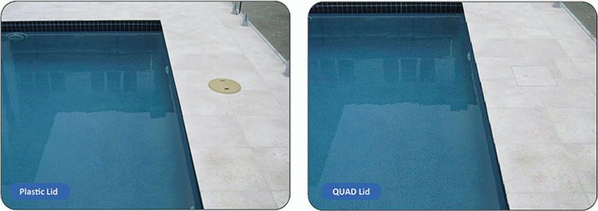 Hidden QUAD skimmer box lids amongst the stone tiles and coping ...