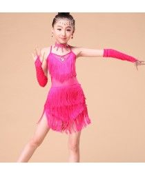 71f2f0b21d82 Fuchsia royal blue Exciting Fringe Girl Latin Dance Dress Summer Dresses  Stage Performance Competition Costume For Children