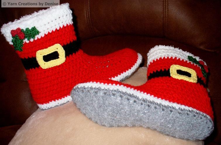 Pin on Crochet Felted Santa's Slipper Boots