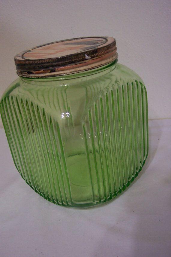 Hey, I found this really awesome Etsy listing at https://www.etsy.com/listing/195873375/vintage-green-depression-glass-jar-64-oz