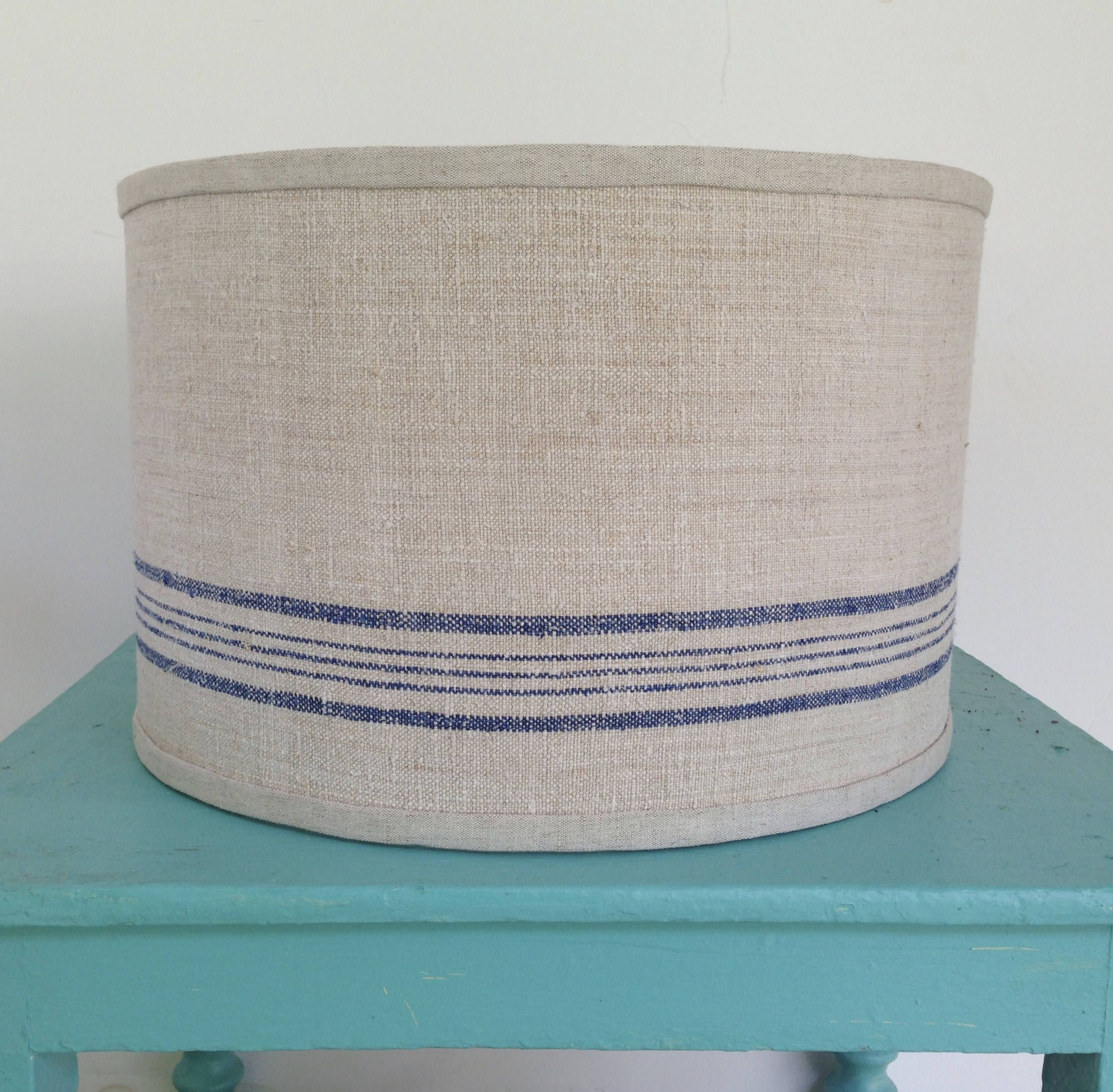 Blue Stripe Drum Lamp Shade Lampshade Pendant Nautical Table Floor Vintage Grain Sack Fabric Large By Lampshadelady On