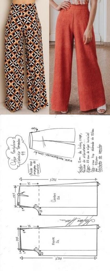 Calça pantalona clássica | DIY - molde, corte e costura - Marlene Mukai | Для дома, для семьи. | Postila #blusas