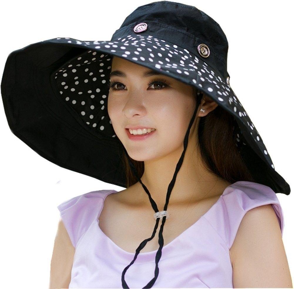 49eb4cc107a Packable Extra Large Brim Floppy Sun Hat Reversible UPF 50+ Beach Sun  Bucket Hat - Black-Dot - CO12IBB4MIR - Hats   Caps