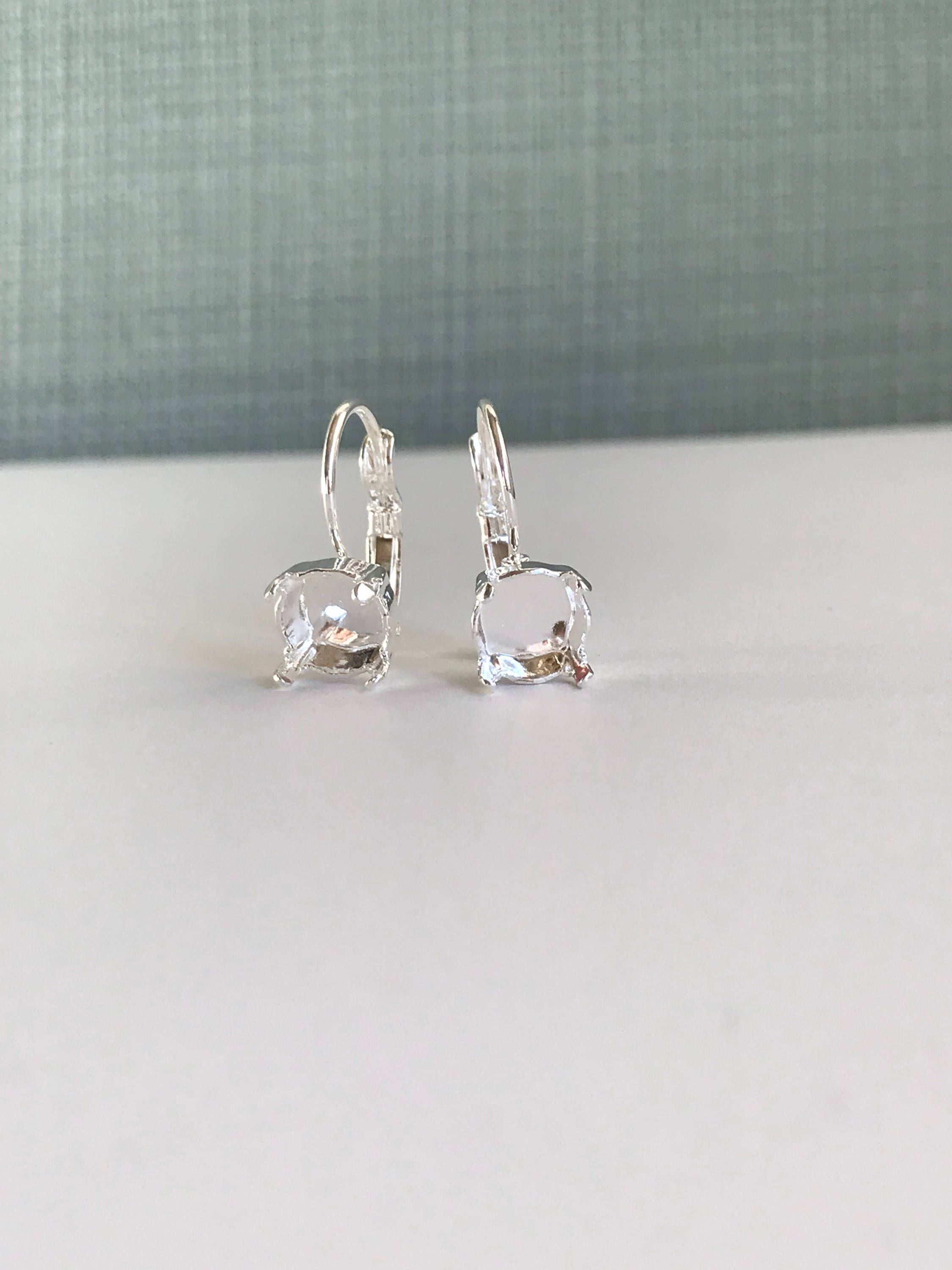 Lever Back Earrings for 39ss Chatons or Rivolis Silver Antique Silver Gold Rose