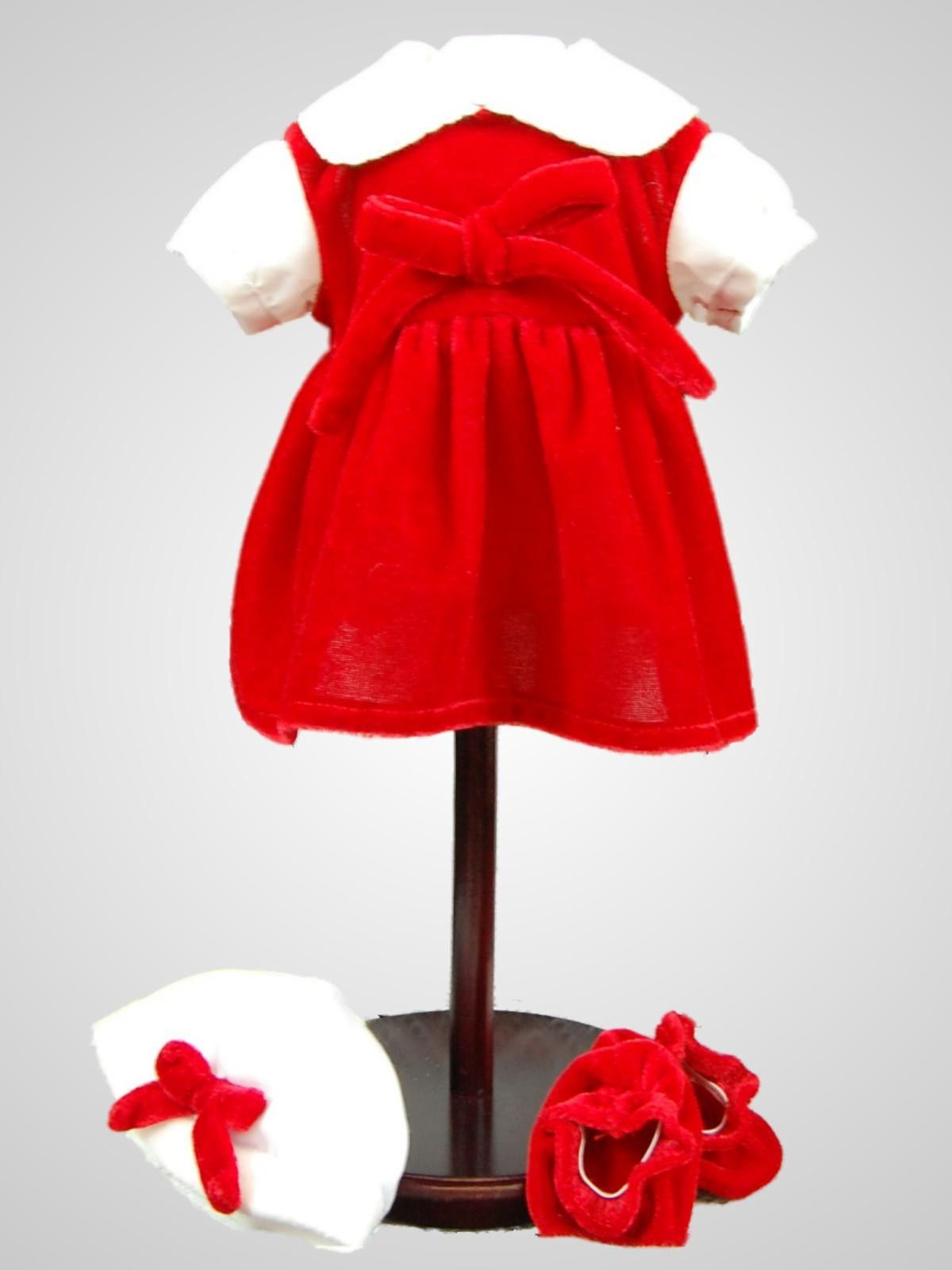 Beautifully detailed doll clothes outfit to fit any Bitty Baby or 15 inch baby dolls. 15 inch Bitty Baby Dolls will look adorable in her red and white complete doll clothes outfit. Velour outfit includes Dress, hat, tights and booties!  Our doll clothes are attractively packaged in a reusable garment bag and hanger for safe keeping.  Designed and manufactured by us, The Queen's Treasures ®.