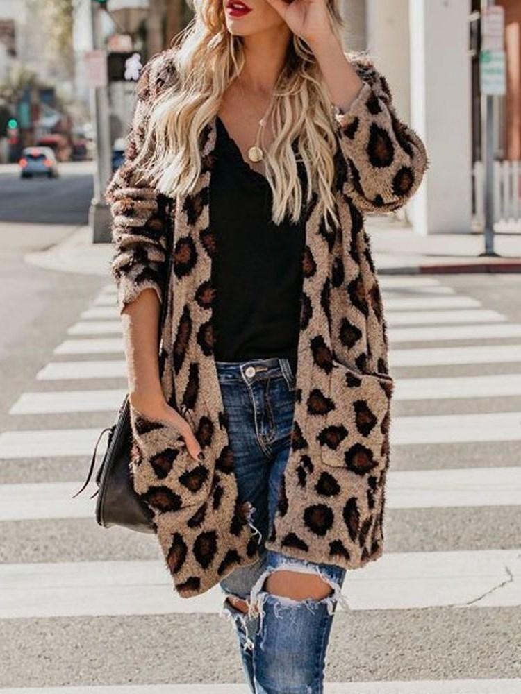 fcd26dca67cf Leopard Print Casual Loose Mid-Length Cardigan Sweater in 2019 ...