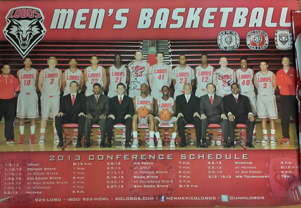 New Mexico Lobos Men S Basketball Unm Roster Poster Signed Alex