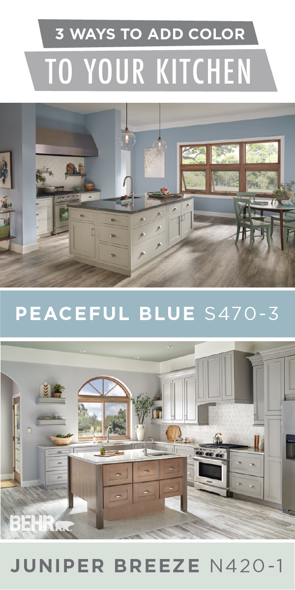Learn About The 3 Ways To Add Color To Your Kitchen Colorfully Behr Basement Paint Colors Behr Blue Paint Colors Light Blue Paints