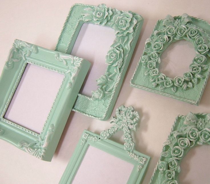 mint shabby chic shabby chic frames pastel mint green picture frame set ornate frames - Mint Picture Frames